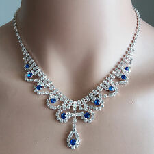 Wedding Cocktail Princess Silver Plated BLUE Beads Adjustable Chain Necklace NEW