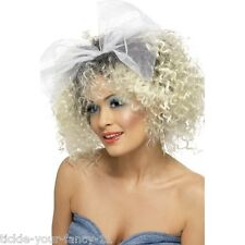 Women's 80's Wild Child Wig w Bow Blonde Curly Glamour Hen Fancy Dress Punk Rock