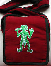 Red Velvet Bag with Embroidered Green Man - Nepal