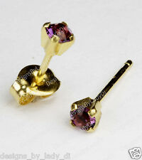 Studex Gold Earrings Tiny Tips Hypoallergenic 3mm Purple February Prong Setting