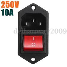 3Pin AC250V 10A Panel Mount Rocker Fuse Switch IEC320 C14 Plug Male Power Socket