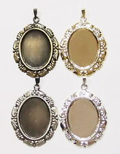4 Plated Colors of 25x18 mm Victorian Art Nouveau Angel Wing Pendant Settings