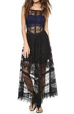 New $198 Free People Mitered Meadows Lace Maxi Slip Dress Size Small- Black