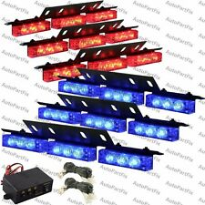 54 LED RED BLUE Emergency Warning Strobe Hazrd Lights Bars Deck Dash Grill