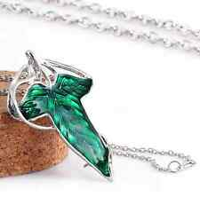 Retro Lord of The Rings Green Leaf Elven Pin Brooch Pendant With Chain Necklace