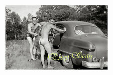 1940's PHOTO MUSCULAR NUDE MAN GETS IN CAR AFTER SWIM WITH PAL GAY INTEREST 119