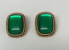 Fabulous Vintage Yves St Laurent YSL Green Poured Glass Cabochon Earrings