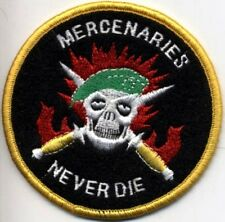 EMBROIDERED MILITARY  SLEEVE PATCH MERCENARIES NEVER DIE SKULL KNIFE GREEN BERET