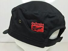 Onitsuka Tiger Black Velcro Strapback Military Patrol Cap Embroidered Rare