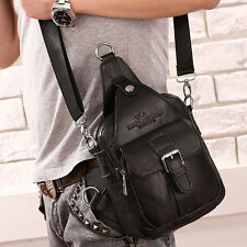 Men Genuine Leather Chest Sling Chest Back Pack Travel Messenger Shoulder Bag
