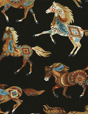 Timeless ~ HORSES Southwest Painted Ponies Natural~ 100% Cotton Quilt Fabric BTY