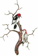 Red Headed & Red Bellied Woodpeckers Metal Wall Art Decor Sculpture by Bovano