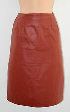 """Vintage Red Leather High Waist Office Pencil Knee Length Skirt Size W28"""" L23"""""""