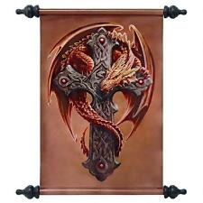 Guardian of the Forest Dragon Wrapped Celtic Cross Canvas Wall Scroll Tapestry