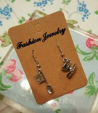 Alice in Wonderland Cards, Tea Spoon & Tea Cup Earrings