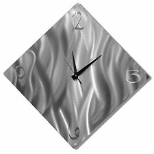 Abstract Silver Wall Clock - Modern Metal Wall Art Home Decor Accent - Jon Allen