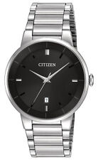 Citizen BI5010-59E Men's Quartz Stainless Steel Black Dial 3-Hand Dress Watch