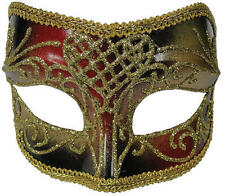 Red & Gold Male Masquerade Mask On Glasses Frame Masquerade Ball Fancy Dress