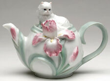❈ COSMOS Persian Cat with Iris Flower Porcelain Tea Pot Teapot
