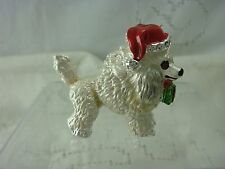 VINTAGE WHITE TOY POODLE SANTA CHRISTMAS HAT ENAMEL PIN BROOCH BY POSH POOCH