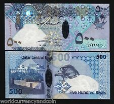 QATAR 500 RIYALS P27 2007 2008 POLYMER BOAT FALCON UNC HYBRID CURRENCY MONEY BIL