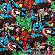 BonEful FABRIC FQ Cotton Jersey KNIT Super Hero Marvel Avengers Boy Hulk Ironman