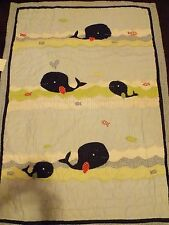 POTTERY BARN KIDS~JACKSON WHALE~NURSERY TODDLER BED CRIB QUILT~NEW