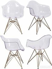 SET OF 2 Eames Style Transparent Ghost Dining Accent Chair w/ Gold Base Eiffel