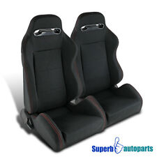 Black JDM Speed Buckle Racing Seats Reclinable Style Pair