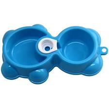 Blue Dish Water Food Feeder Fountain Bear Double Bowl Hot Puppy Dog Cat Bowl H