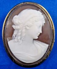 Antique Art Deco Silver Shell Cameo Pin/Brooch Pendant