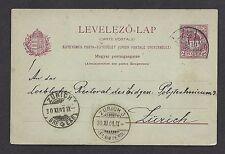 Hungary 1901 Postal Card 10f Léva to Zurich