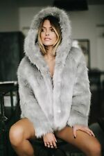 MISSGUIDED CAROLINE RECEVEUR GREY FAUX FUR COAT HOODED JACKET SOLD OUT SIZE  14