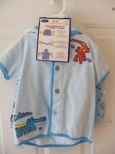 Wee Wave Boys 3 Pc Bathing Suit Set (Swimtrunks,Hoodie,Sunglasses) Blue NEW HTF