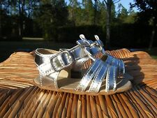 Juicy Couture Girls Baby Infant 3-6M Silver Metallic Sandals Velcro Bows NEW!