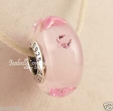 Valentines PINK HEARTS Authentic PANDORA Silver MURANO Glass Charm~Bead NEW