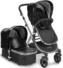 NEW Baby Roues LeTour Lux II BLACK Lightweight Compact Stroller w/ Bassinet