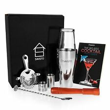 Savisto 8 Piece Boston Cocktail Drink Shaker Glass 500 Recipe Book Xmas Gift Set