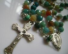 Rare Natural Agate & Turquoise BEADS ROSARY CROSS CRUCIFIX CATHOLIC NECKLACE