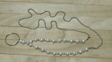 Pearl Silver - ID Badge Holder Lanyard Necklace