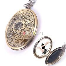 Hot Boy Girl Love Bronze Flower Photo Frame Locket Pendant Chain Necklace DIY US