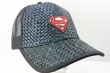 New Superman Man of Steel Trucker Baseball Hat Woven Pattern Front Brim Snapback