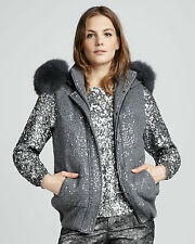NWT ALICE + OLIVIA SzM JALA GENUINE FOX FUR-COLLAR SEQUINED VEST SILVER  $798.