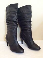 BARRATTS BLACK LEATHER SLOUCH KNEE HIGH BOOTS SIZE 8/42