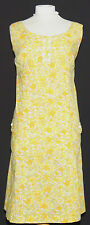 SWEET VINTAGE MOD 1960's SCOOTER FLORAL SLEEVELESS DRESS 14 YELLOW