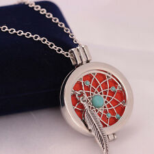 Aromatherapy Essential Oil Feather Turquoise Diffuser Locket Necklace with Pads