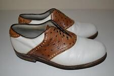 FOOTJOY OSTRICH CLASSIC GOLF SHOES CLASSIC WHITE BROWN 9