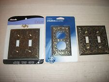 Lot Of 3 Double Switch Plate/Outlet Covers - Similar Antique Brass Design