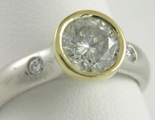 Platinum 18K Bezel Set 1 Ct Round Diamond Solitaire Engagement Ring
