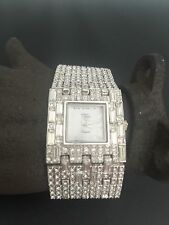 Stunning Silvertone Suzanne Somers Bracelet Watch set with Over 350 Crystals